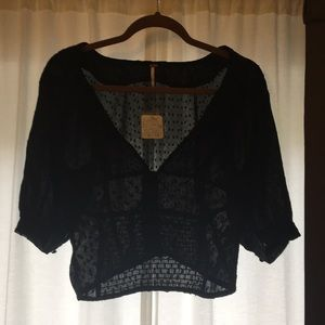 Free people black fitted blouse size medium